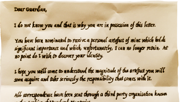An unexpected letter explains you have been nominated to receive an important artifact from a mysterious stranger.