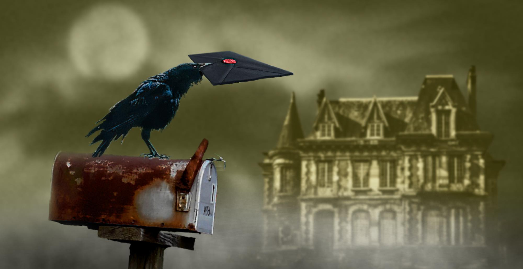 A raven delivering a mysterious mail to a letterbox in front of an old spooky mansion on a misty evening